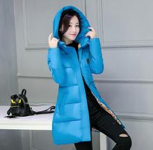 Low price Blue Women Winter Coat 2016 New Young Girls Parka Cotton-padded Jacket Outerwear Medium-long Clothing Plus Size M-3XL