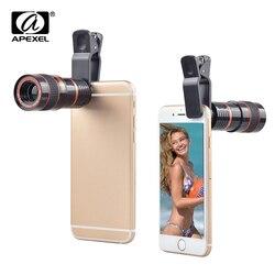 Apexel 8x Zoom telefon komórkowy soczewki teleskopu dla iPhone 7 8 6 Plus uniwersalny aparat przypinany obiektyw do Samsung S9 xiaomi z systemem Android telefon