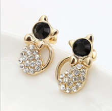 Hot Sell Fashion Earrings/Fashion jewelry/Lovely Rinestone Cat Earrings earrings for women gift(China)