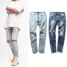 2017 НОВЫЙ уличной моды мужские уничтожены джинсы отверстие повседневные брюки лодыжки прохладные джинсы jogger повреждение джинсы рок хип-хоп узкие брюки