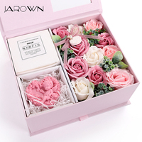 JAROWN Artificial Soap Flower Rose Gift Box Wedding Souvenir Valentine's Day Creative Birthday Novelty Gift Rose Soap Home Decor