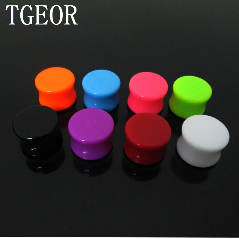 free shipping NICE piercing body jewelry 1 Pair mixed gauges solid colors ear expander saddle acrylic ear plug GOOD