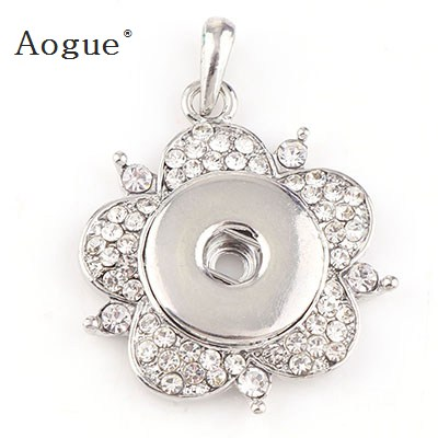 Trendy Factory 18mm Snap Buttons Vintage Snaps Button Flower Crystal Rhinestone Pendant DIY Necklace Jewelry Charm