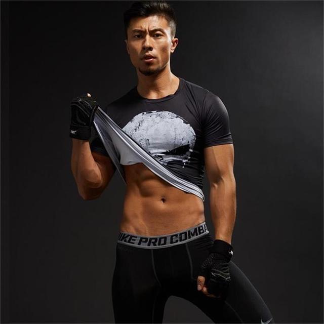 Punisher Gym Sport Short Sleeve T Shirt Men T-Shirt Male Crossfit Tee Captain America Superman tshirt Fitness Compression Shirt  3