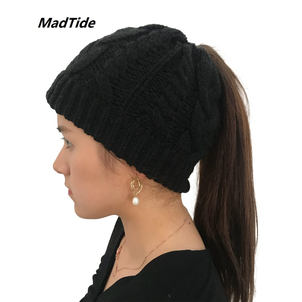 Women's Girls Stretch Knitted Wool Crochet Hats Caps Messy Bun Ponytail   Beanie   Holey Warm Hat Winter Warm Cap   Beanies   20 Colors