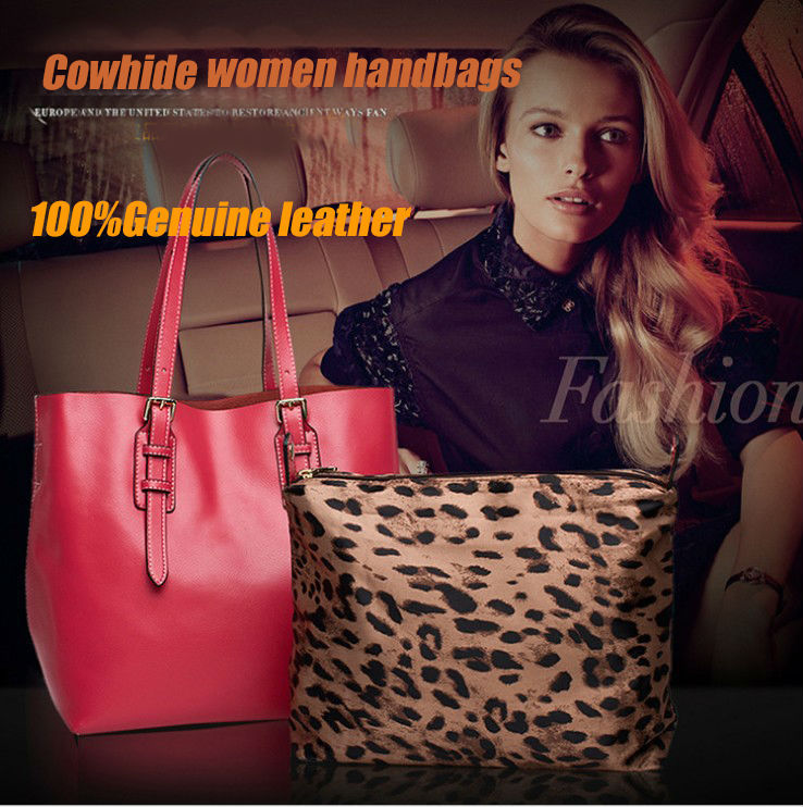 цена High Quality Genuine Leather Handbag Fashion Women Shoulder Bag Ladies Tote s Bags Free Shipping