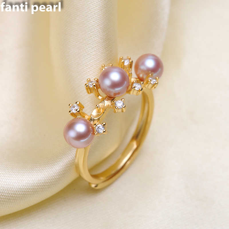 DIY Pearl Ring 925 silver Accessories Natural freshwater Pearl rings s925 Sterling Silver ring simple style 7-9mm three pearls