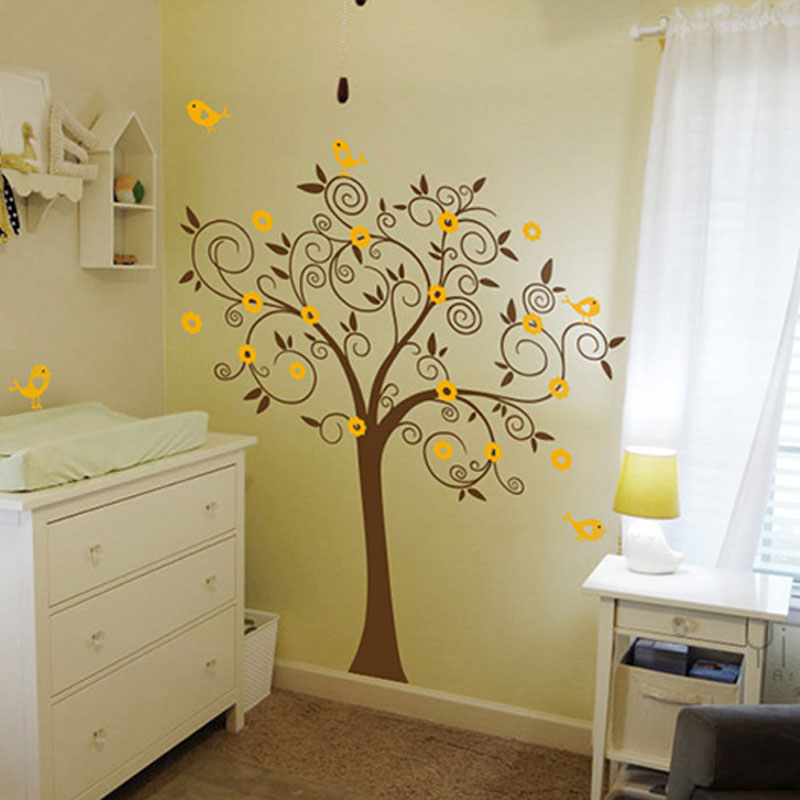 Birds Flowers Tree Wall Decal Sticker Mural Wallpaper Vinyl Baby Room Nursery Play S 180 180cm Home Decoration In Stickers From