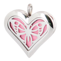 Amya 36mm Heart Big Butterfly Aromatherapy Essential Oils Stainless Steel Perfume Diffuser Locket Necklace with chain Pads