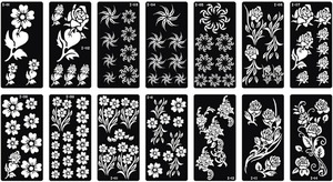 10pcs Tattoo Template Henna Painting Stencil Size 18.5x9.5cm Dedicated Multi Flower Models