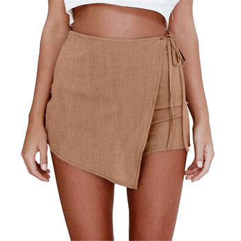Summer Womens Skorts Shorts Skirt High Waisted Casual Irregular Flanging Wrap Culottes Jupe Femme Faldas Mujer image