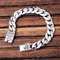 MetJakt Men S Classic Punk Link Bracelet With Totem Solid 925 Sterling Silver Bracelet For Male