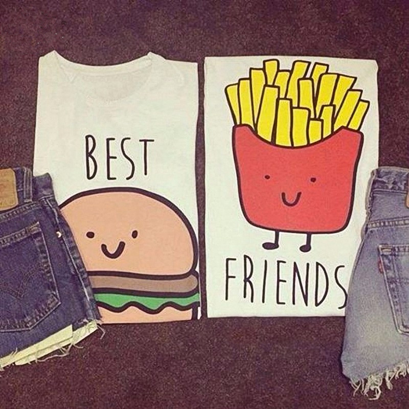 Kiwi Summer Best Friends Burger Fries Printed Trendy Girly Hipster
