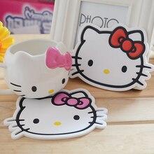 Kawaii Kitty Cat мультяшный коврик под кружку подстаканник. Столовая посуда изоляционные прокладки. Силиконовые Нескользящие коврики подстаканники. Столовые приборы. Декор стола