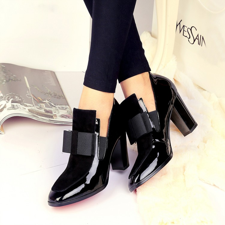 ФОТО Shoes woman genuine leather single shoes female square toe high heeled thick heel female shoes bow ol women shoes