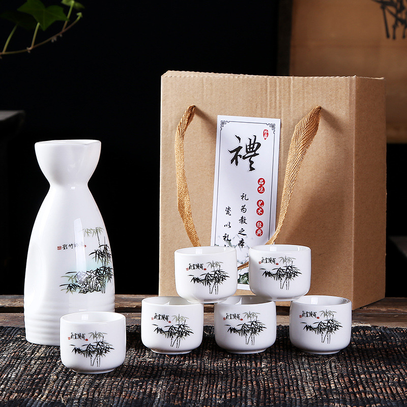 Japanese Sake Set, 6 Pieces Sake Set Hand Painted Design Porcelain Pottery Traditional Ceramic Cups Crafts Wine Glasses Gift Box image