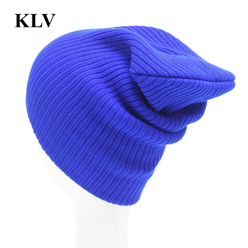 Hot Sales Fashion Hat Winter Hat For Unisex Skullies Beanies Solid Knitted Hat Warm Cap Male or Female  Beanies Cap Elastic Oc31 skullies