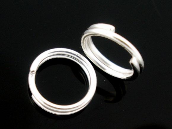 Сплавные кольца с разрезом круглые посеребренные 10 мм (3/8