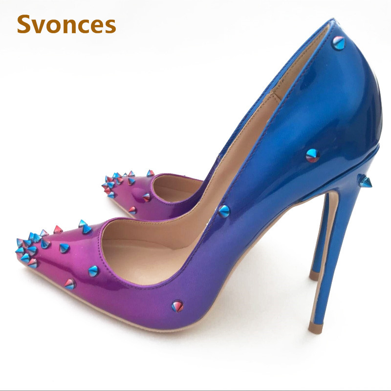 c0981de36839 Detail Feedback Questions about Runway Woman Pumps Luxury Gradient Purple  Blue Rivets Pointy Stilettos Heels Spikes High Heels Sexy Formal Evening  Shoes ...