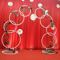 Wrought iron curved arch ring wedding background frame accessory DIY round party with frame of flower background