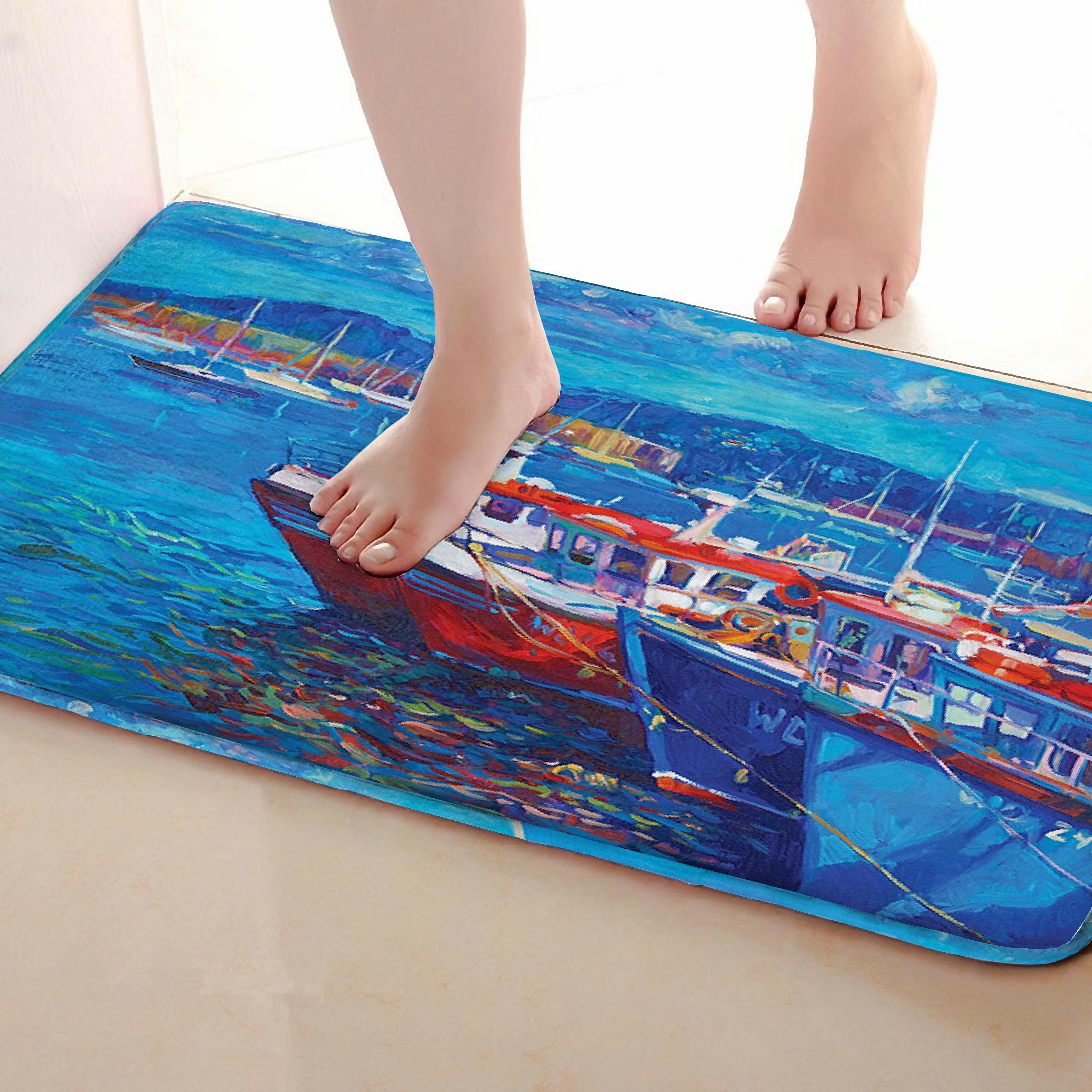 Painting Style Bathroom Mat,Funny Anti Skid Bath Mat,Shower Curtains Accessories,Matching Your Shower Curtain