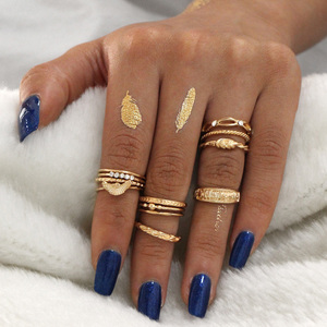 10 Pcs/set Women Bohemian Vintage Wing Cross Crystal Stone Joint Ring Party Gold Ring Set Women Party Midi Finger Jewelry Gifts