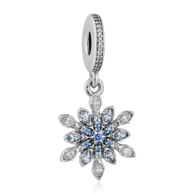 SHEALIA Blue Crystal & CZ Christmas Snowflake Pendant Charms 925 Sterling-Silver-Jewelry Flower Dangle For Bracelets & Necklace