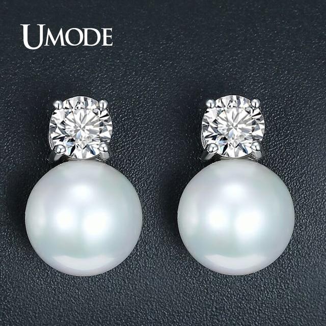 Umode Fashion Large Pearl Earrings For Women Zircon Crystal Studs Earring Jewelry Pennte Mujer Bijoux Boucle