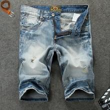 Italy Vintage Style Fashion Men Short Jeans Blue Color White Wash Ripped Jeans hombre Summer Streetwear Hip Hop Jeans Shorts Men цена 2017