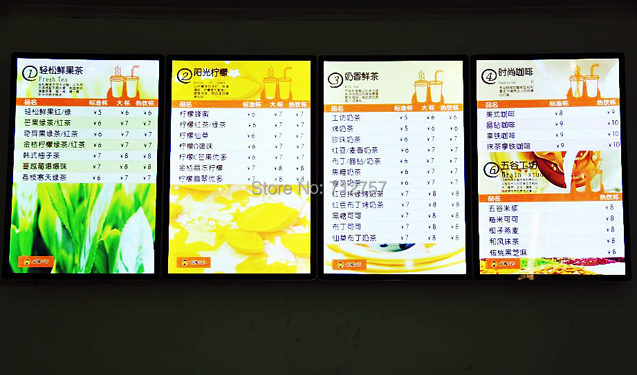 High Quality Magnetic LED Menu Display Board - A2 Size, Black Border 16mm  Thick LED Light Box(8pcs/lot)