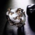 100% De Pérolas Naturais De Água Boutique Black & Gold plate com Alta Qualidade Cubic Zirconia Partido Irregular Grandes Anéis de Pérola