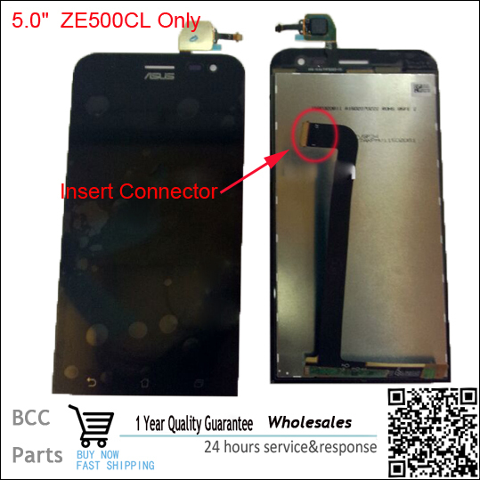 Insira o conector original display lcd + digitador touch peças de montagem de tela para asus zenfone 2 ze500cl 100% testado antes do navio