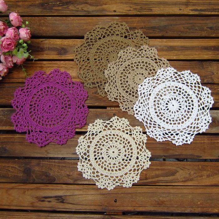 Japanese ZAKKA Handmade 16cm Round flower Lace Doilies Table Place Crochet Coaster Cup Mat Cotton Pastoral 10pcs/Lot