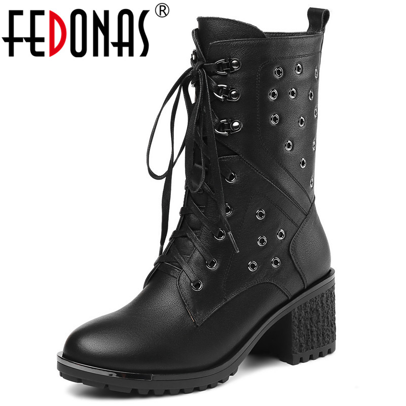 FEDONAS Sexy High Quality Women Mid-calf Boots Genuine Leather High Heels Lace Up Warm Martin Shoes Woman Punk Rivets High Boots british design mens casual mid calf martin punk motorcycle high boots rivets spring autumn genuine leather shoes lace up zapatos