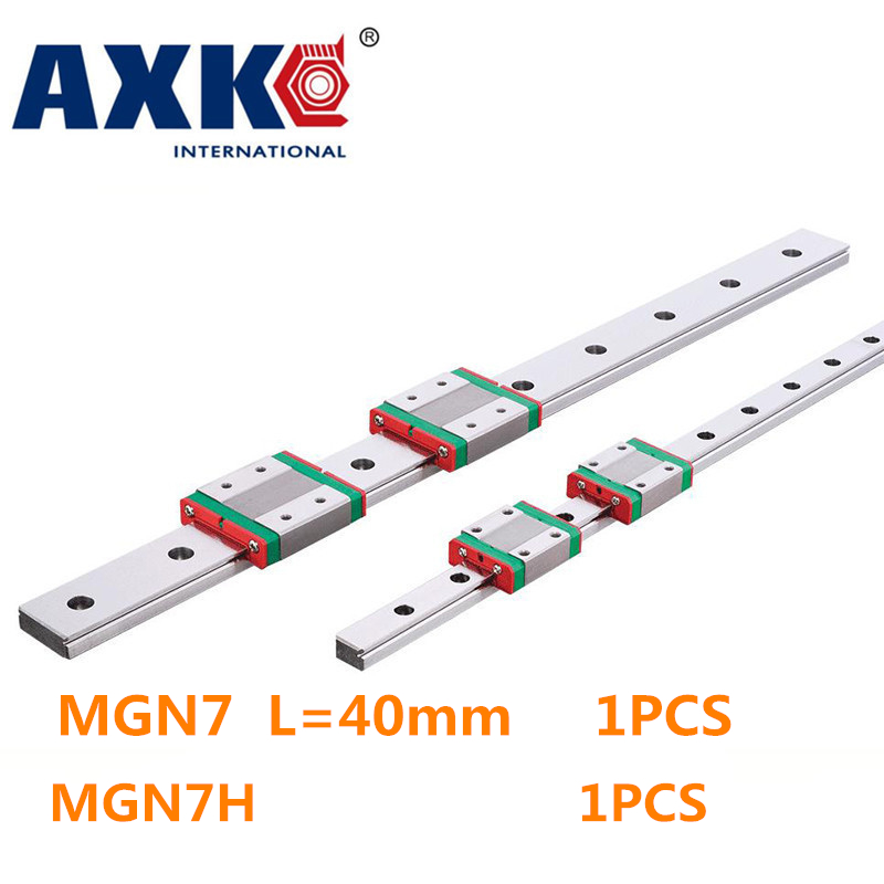 HOT SALE Promotion for New Miniature Linear Guide MGN7 L= 40mm guideway + MGN7H Long blocks carriage for X Y Z Axis the linear guide to linear algebra toothed belt drive linear guideway actuator for sofa for xy structure