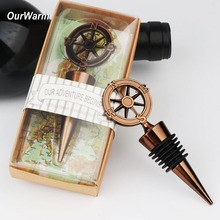 OurWarm 20/50/100pcs Wedding Souvenir Gifts For Guests Wine Bottle Stopper Metal Seal Stopper Travel Theme Wedding Favors Decor