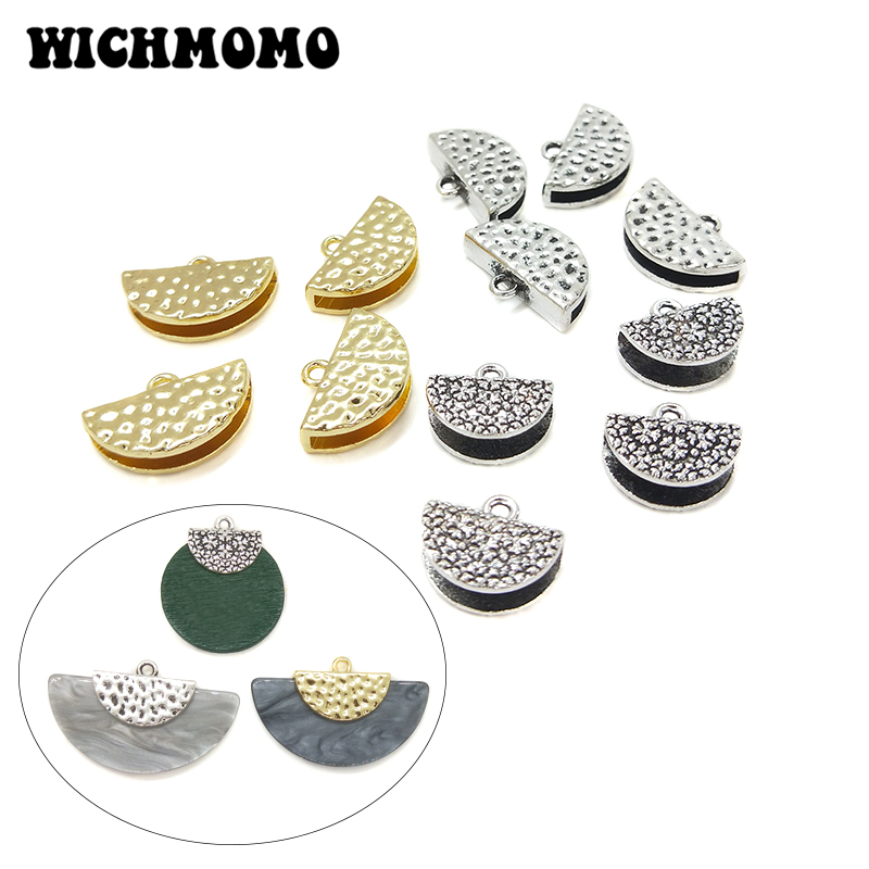 2019 New Fashion 10pieces 13mm Zinc Alloy Two Style Semicircle Connectors Charms for DIY Earrings Necklace Jewelry Accessories