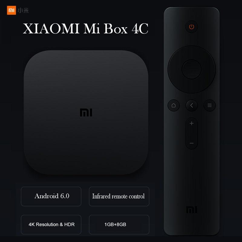 XIAOMI Mi Box 4 4C Amlogic Cortex-A53 Quad Core 64bit 1GB+8GB 4K HDR TV Box DTS-HD 2.4G WiFi HDMI Android 6.0 / Chinese Version телеприставка oem f10 xbmc android m8 amlogic s802 mali450 gpu 4 k hdmi bluetooth dolby true hd dts em8 m8 s802