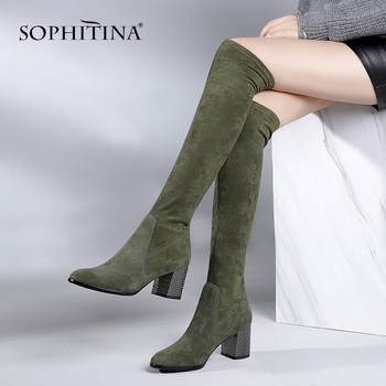 SOPHITINA New Kid Suede Stylish Boots Over-The-Knee Slip-On Round Toe High Square Heel Shoes Fashion Handmade Women' s Boots B71