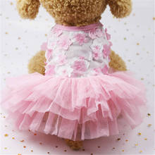 Bow Lace Pet Dog Clothes Summer Dress Vest Cat Floral  Clothing Puppy Chihuahua