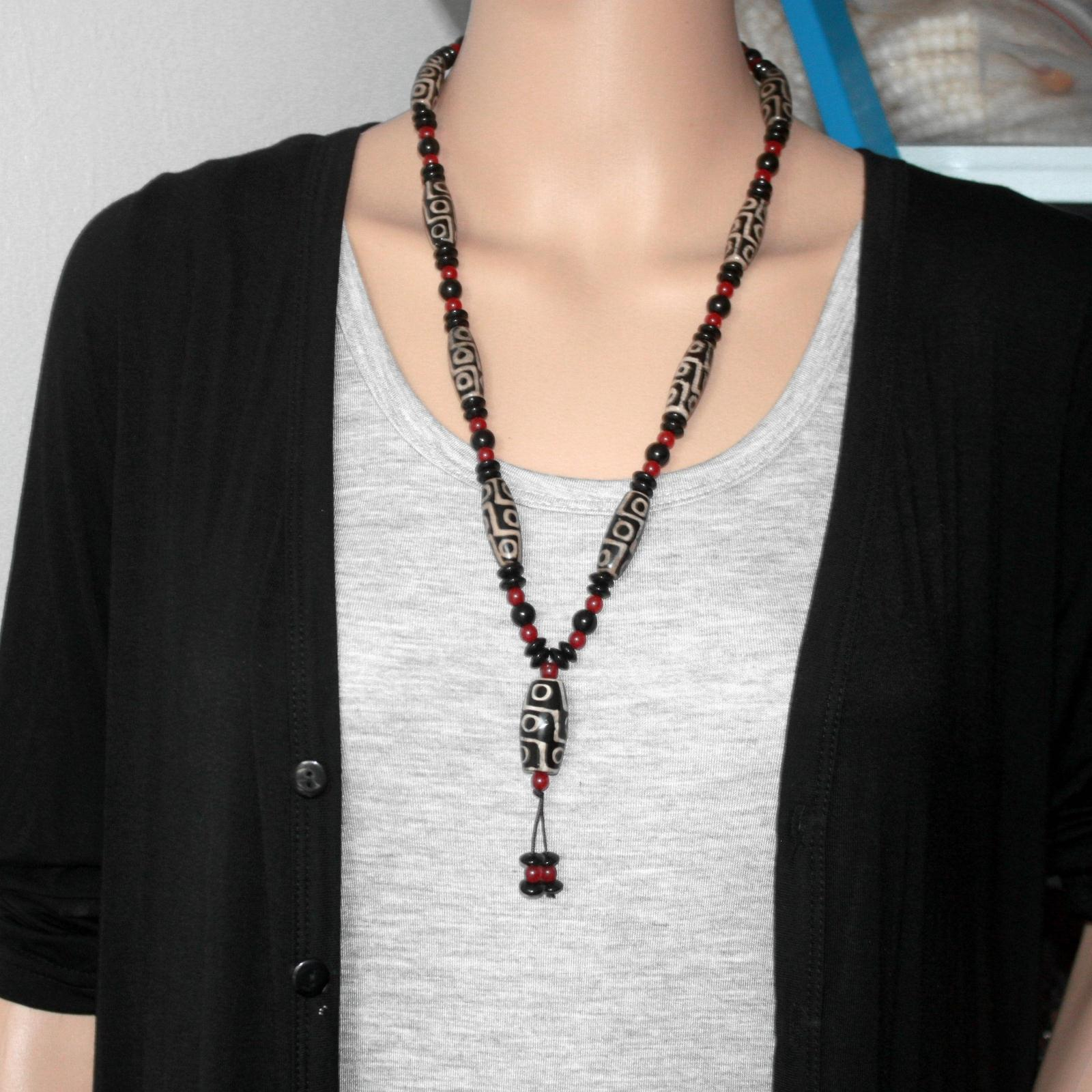 Original Tibetan Beads Nine Eye Black And White Color Natural  Dzi Necklace For Men And Women