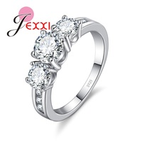 JEXXI Fashion Bride Jewelry Woman 925 Sterling Silver Wedding Band Clear Crystal Lady Propose Engagement Rings