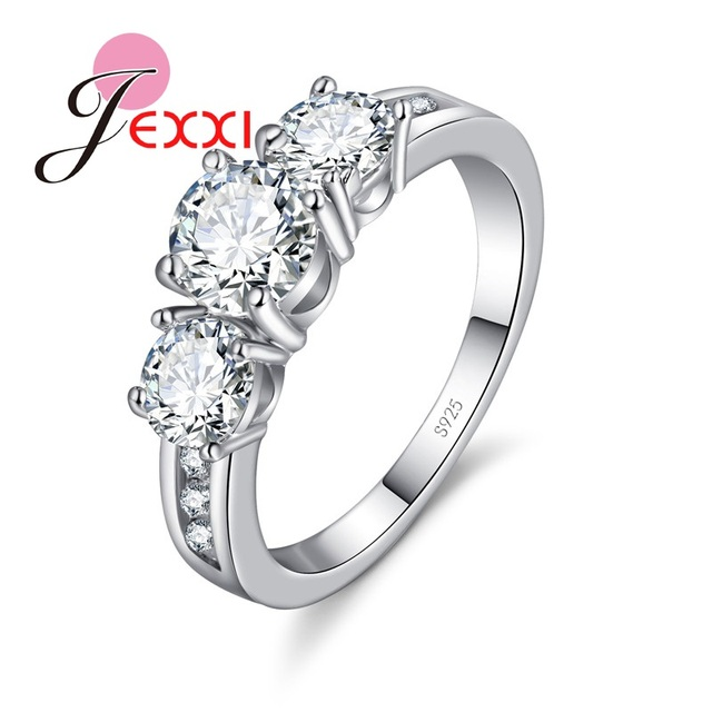 JEXXI Fashion Bride Jewelry Woman 925 Sterling Silver Wedding Band Clear Crystal Lady Propose Engagement Rings Birthday Gift