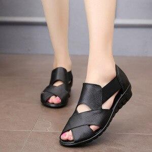 Image 5 - Сандалии GKTINOO женские в римском стиле, повседневные босоножки из натуральной кожи, удобная обувь на танкетке, лето 2020