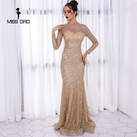 Missord 2017 Sexy O Neck Long Sleeve Pattern Glitter Women Slim Maxi Elegant Dress FT8581 2