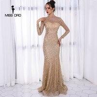 Missord 2017 Sexy O Neck Long Sleeve Pattern Glitter Women Slim Maxi Elegant Dress FT8581 2