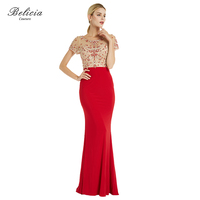 Belicia Couture Red Elegant Mermaid Formal Evening Dresses New Fashion With O Neck Beading Long Prom