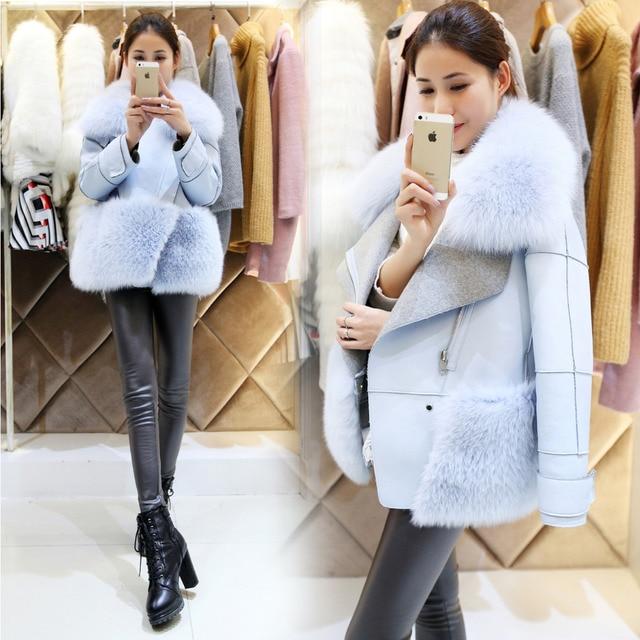 Aliexpress.com : Buy Fox Fur Collar Australia Merino Sheep Leather ...