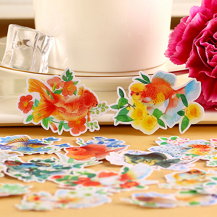 15pcs Creative cute kawaii self-made lucky fish scrapbooking stickers /decorative sticker /DIY craft photo albums 14pcs creative kawaii lovely cute self made victoria rabbit animal stickers trolley case computer notebook stickers luggage