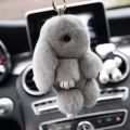 2016 New Fashion Car Play Dead Rabbit Key Chain Fur Pom Pom Rex Rabbit Keychain Bag Car Hanging Pendant Jewelry Freeshipping